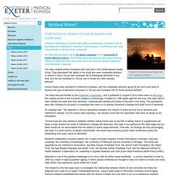 News - Link between vitamin D and dementia risk confirmed - Medical School - University of Exeter
