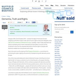 Dementia, Truth and Rights - Nuffield Bioethics