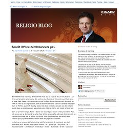 Benoît XVI ne démissionnera pas - Religioblog