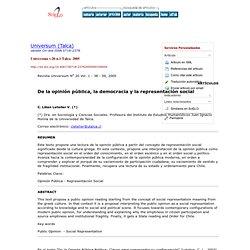 Universum (Talca) - De la opinión pública, la democracia y la representación social