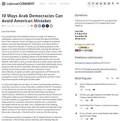 10 Ways Arab Democracies Can Avoid American Mistakes