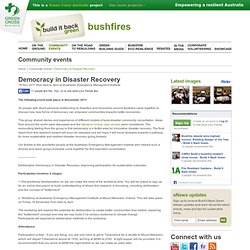 Democracy in Disaster Recovery - Build it Back Green