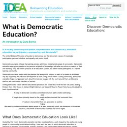 IDEA: Institute for Democratic Education in America