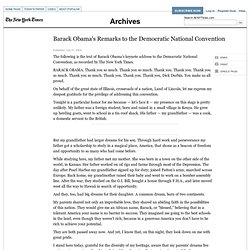 Barack Obama's Remarks to the Democratic National Convention