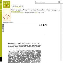 À propos de : M. I. Finley, Démocratie antique et démocratie moderne