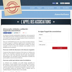 Démocratie, initiative, solidarité: l'appel des associations | Associations