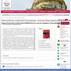 Droits de l'homme et démocratie à l'ère numérique - Actes du colloque organisé au Sénat dans le cadre de la présidence française du comité des ministres du conseil de l'Europe (14 novembre 2019)