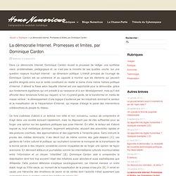 La démocratie Internet. Promesses et limites, par Dominique Cardon