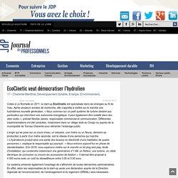 EcoCinetic veut démocratiser l'hydrolien - Journal des Professionnels