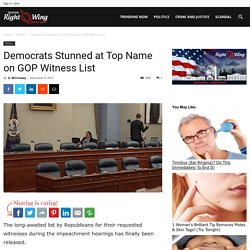 Democrats Stunned at Top Name on GOP Witness List - TRENDINGRIGHTWING