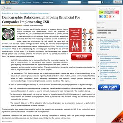 Demographic Data Research Proving Beneficial For Companies Implementing CSR by Globalhunt Foundation
