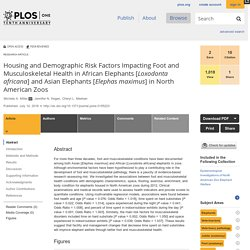 PLOS 14/07/16 Housing and Demographic Risk Factors Impacting Foot and Musculoskeletal Health in African Elephants [Loxodonta africana] and Asian Elephants [Elephas maximus] in North American Zoos