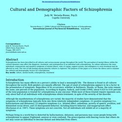 Cultural and Demographic Factors of Schizophrenia