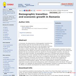 Demographic transition and economic growth in Romania