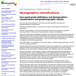 free demographics classifications, lifestyles and social grades listings, acorn 2003 profiles, uk population percentages