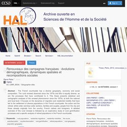 Renouveaux des campagnes françaises : évolutions démographiques, dynamiques spatiales et recompositions sociales - HAL-SHS - Sciences de l'Homme et de la Société