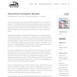 Demolition Dumpster Rentals
