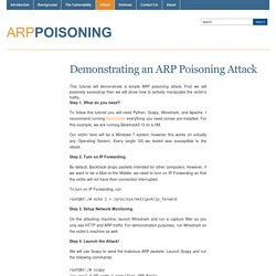 Demonstrating an ARP Poisoning Attack