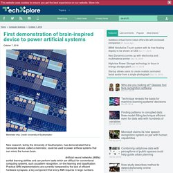 First demonstration of brain-inspired device to power artificial systems