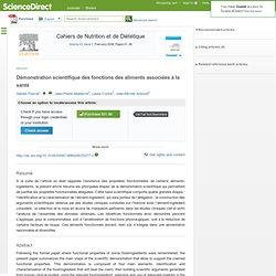 Cahiers de Nutrition et de Diététique, Volume 43, Issue 1, February 2008, Démonstration scientifique des fonctions des aliments