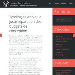 Typologies web et la juste répartition des budgets de conception
