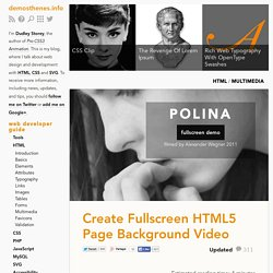 Create Fullscreen HTML5 Page Background Video