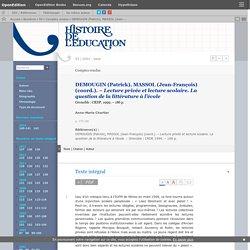 DEMOUGIN (Patrick), MASSOL (Jean-François) (coord.). – Lecture privée et lect...