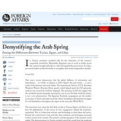 demystifying the arab spring Demystifying the arab spring: parsing the differences between tunisia, egypt, and libya add to my bookmarks export citation type article author(s).