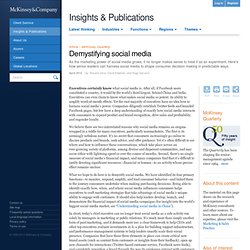 Demystifying social media - McKinsey Quarterly - Marketing & Sales - Digital Marketing