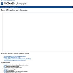 Citing and referencing tutorial, Monash University Library