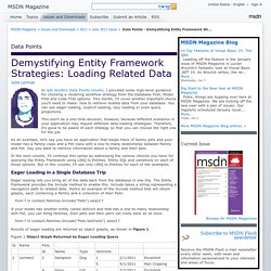 MSDN Magazine: Data Points - Demystifying Entity Framework Strategies: Loading Related Data