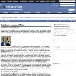 Denis Meuret : gouverner l'Ecole