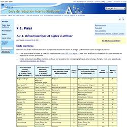 Office des publications : 7.1. Pays — 7.1.1. Dénominations et sigles à utiliser