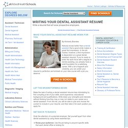 Dental Assistant Resume | Write a Resume that Works