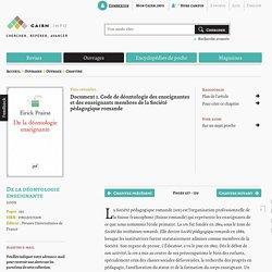 Document 1. Code de déontologie des enseignantes et des enseignants membres de la Société pédagogique romande
