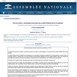 ASSEMBLEE NATIONALE 27/07/11 Déontologie et prévention des conflits d'intérêts dans la vie publique