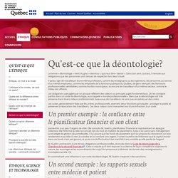 Qu'est-ce que la déontologie? - Commission de l'éthique en science et en technologie