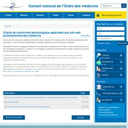 Charte de conformité déontologique applicable aux site web professionnels des médecins