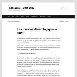 Les morales déontologiques – Kant