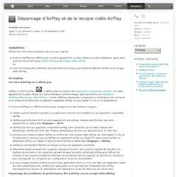 Dépannage d'AirPlay et de la recopie vidéo AirPlay