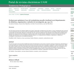 Evaluar para optimizar el uso de la plataforma moodle (studium) en el departamento de didáctica, organización y métodos de investigación. pp. 155-170