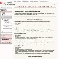 UFR LCE - Département d'études anglophones - Modalités des concours de l'agrégation d'anglais