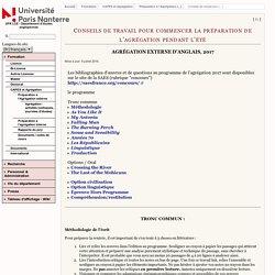 UFR LCE - Département d'études anglophones - Conseils de travail pour commencer la préparation de l'agrégation pendant l'été