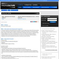 Stage - Département des échanges artistiques, Services Culturels de l'Ambassade de France à New York, New York - Etas-Unis