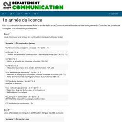 1e année de licence - Département communication