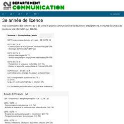 3e année de licence - Département communication