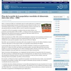 Plus de la moitié de la population mondiale vit désormais dans des villes – ONU