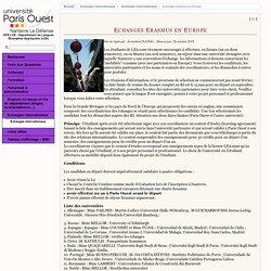 UFR LCE - Département de Langues Étrangères Appliquées (LEA) - Echanges Erasmus en Europe