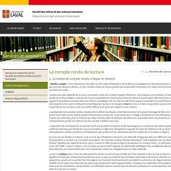 Le compte rendu de lecture - Département des sciences historiques