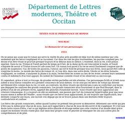 UTM - Département de Lettres modernes - espace pédagogique - roman - mauriac